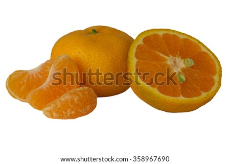 Mandarin in peel, cut in half ripe mandarin and three slices isolated on a white background - stock photo