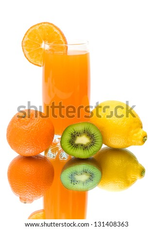 mandarin, kiwi, lemon and glass of juice on a white background with reflection