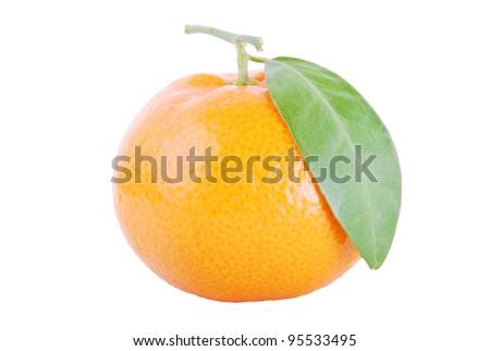 mandarin orange isolated on a white background - stock photo