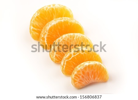 mandarin orange slices on a white background
