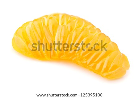 mandarin slice isolated on white background