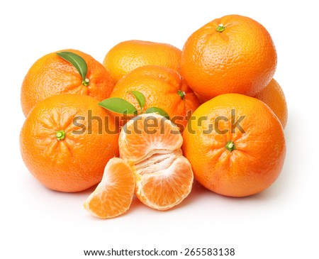 Mandarin, tangerine citrus fruit isolated on white background. - stock photo