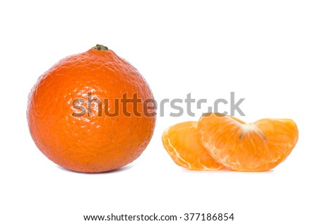 mandarin with leaves close-up on a white background - stock photo