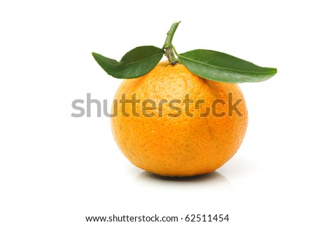Mandarin with leaves, isolated on white