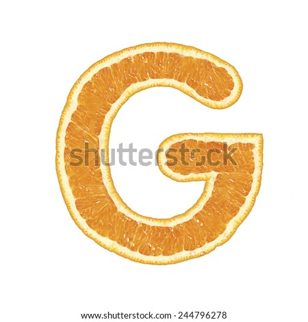 Mandarine alphabet isolated on white background (Letter G)  - stock photo
