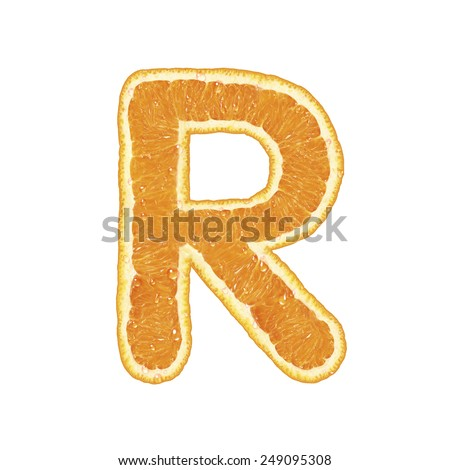 Mandarine alphabet isolated on white background (Letter R)  - stock photo