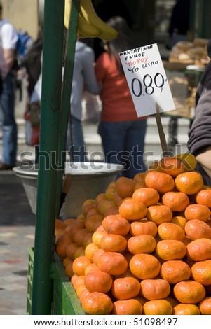 Mandarine. Market stall selling fresh fruit in Monastiraky Square - Athens - stock photo