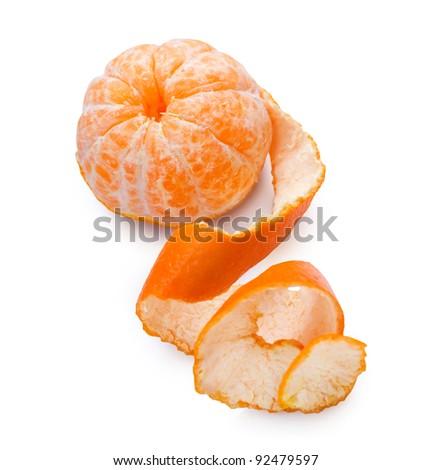 Mandarine or Tangerine over white - stock photo