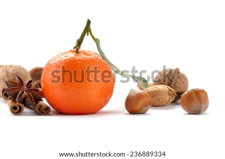 Mandarins and spices  on white background - stock photo