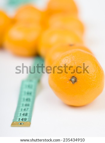 Mandarins and the meter line closeup isolated blurred backing - stock photo