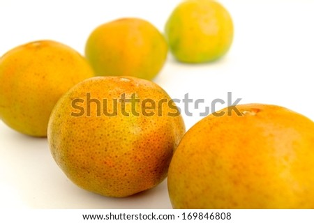 Mandarins in isolated whit background - stock photo