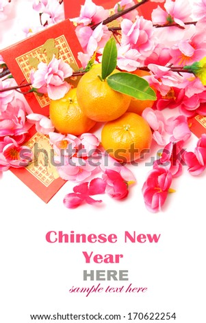Mandarins with Red Packets and Plum flowers isolated on white - stock photo