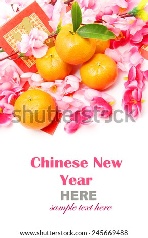 """Mandarins with Red Packets (with the character """"fu"""" meaning fortune) and Plum flowers isolated on white  - stock photo"""