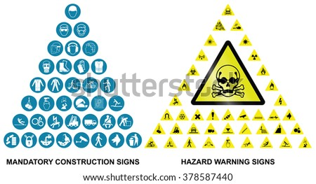 Mandatory construction health and safety and hazard warning related pyramid icon collection isolated on white background  - stock photo