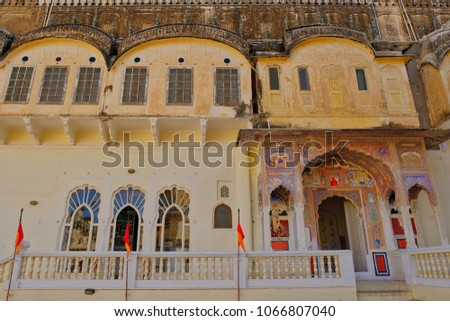 Wonderful Mandawa, India Feb 24, 2018:Architural View And Old Building Of Historical