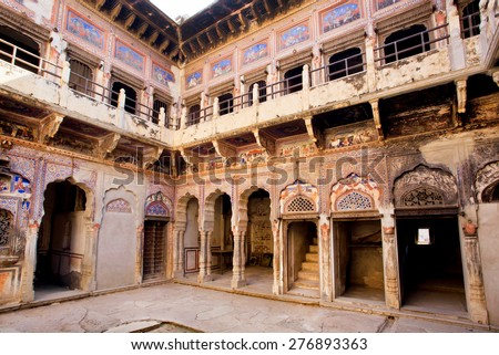 MANDAWA, INDIA - FEB 7: Historical mansion Havely yard with broken murals on the walls on February 7 2015 in Rajasthan. With population of 21000, Mandawa is popular site with naive art Havelis homes