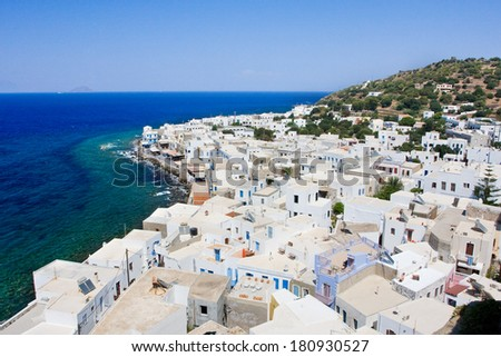 Mandraki town center with typical greek architecture - Nisyros island, Greece