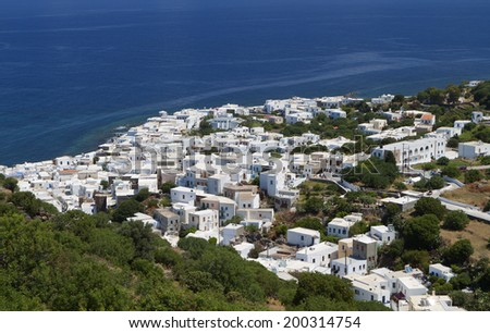 Mandraki village at Nysiros island in Greece - stock photo
