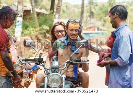 MANDREM, GOA, INDIA - MARCH 27, 2013: Unidentified celebrates Holi on MARCH 27, 2013 in Mandrem. In 2016 Holi will be celebrating on March 23, 2016