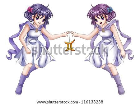 Manga style illustration of zodiac symbol, Gemini - stock photo