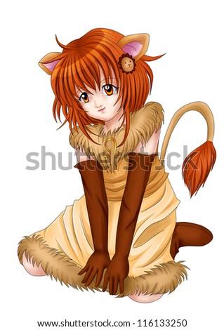 Manga style illustration of zodiac symbol, Leo - stock photo