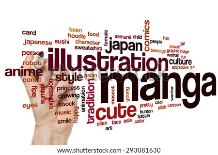 Manga word cloud concept with illustration japanese related tags - stock photo