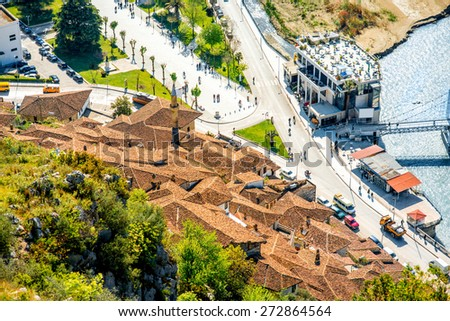 Mangalem and modern part of Berat city in Albania. Top view