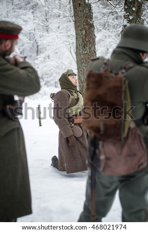 Mangali, Latvia, Museum of Lozmetejkalns, January 9, 2016 - Reconstruction of battle Ziemassvetku in world war two in Latvia
