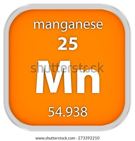 Manganese material on the periodic table. Part of a series. - stock photo