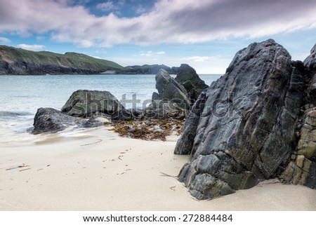 Mangersta Beach on a spring day on the Isle of Lewis and Harris, Outer Hebrides, Scotland - stock photo