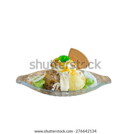Mango and chocolate ice cream with coconut slice and  sweet sticky rice. - stock photo