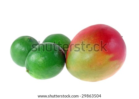 Mango and limes isolated on white background
