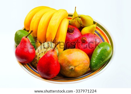 Mango, avocado, annona, bananas, pears, pomegranates. All these fruits as medicines and food for the long and healthy life - stock photo