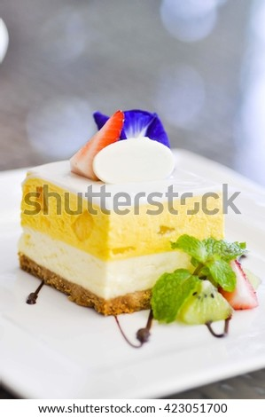 mango cheese cake dish