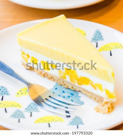 Mango cheesecake - stock photo