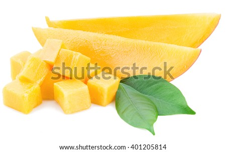 Mango cubes and slices. Isolated on a white background. - stock photo