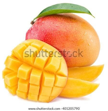 Mango fruit and mango cubes. Isolated on a white background. - stock photo