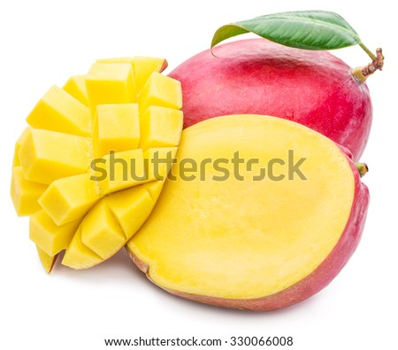 Mango fruit and mango cubes. The picture of high quality. Mango fruit and mango cubes on the white background. - stock photo
