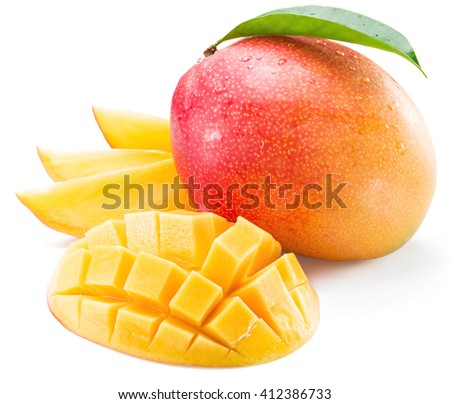 Mango fruit and mango slices on a white background.