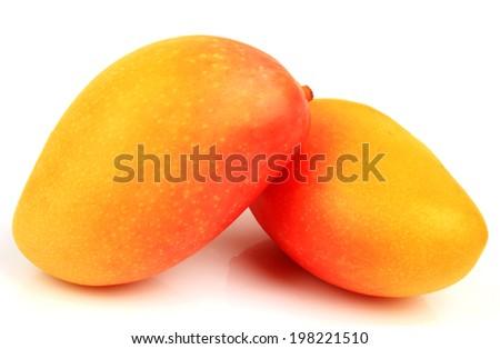 Mango fruit isolated on white background. Clipping Path - stock photo