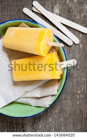 Mango Ice Cream Popsicle - stock photo