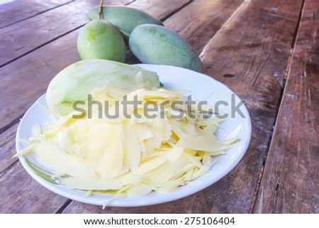 mango Peel on a plate placed on a wooden floor.