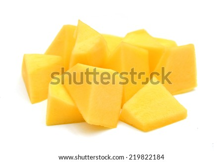 Mango slice isolated on white background  - stock photo