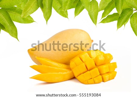 Mango slice with leaves isolated white background