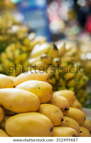 Mango tropical fruit on asian market