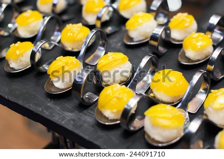 Mango with Sticky Rice in Wedding,Thailand - stock photo