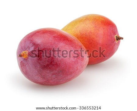 Mangoes isolated on white background with clipping path - stock photo