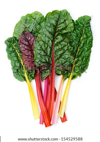 Mangold or Swiss chard 'Rainbow' leaves isolated on white - stock photo