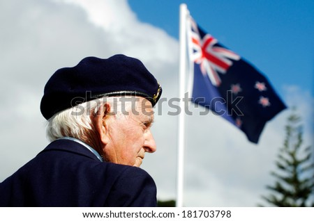 MANGONUI, NEW ZEALAND - APRIL 25 2012: NZ army veteran soldier participate in Anzac Day - War Memorial Service.Over 18,000 New Zealand soldiers were killed in the First World War. - stock photo