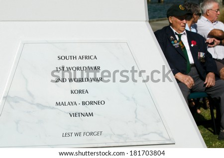 MANGONUI, NEW ZEALAND - APRIL 25 2012: NZ army veteran soldiers participate in Anzac Day - War Memorial Service.Over 18,000 New Zealand soldiers were killed in the First World War. - stock photo